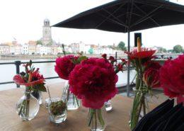 rode bloemen skyline