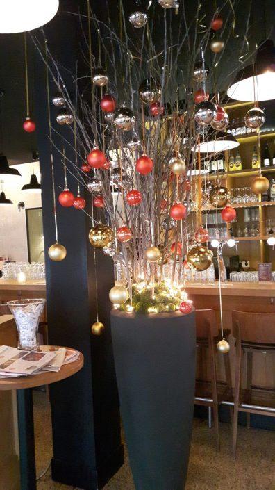 kerstdecoratie bij restaurant Loetje
